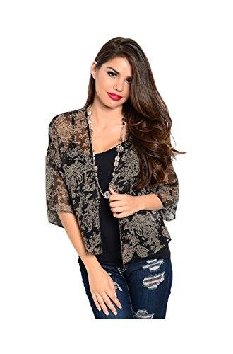 2LUV Women's 3/4 Sleeve Floral Print Kimono Cardigan Black & Taupe M (T90126)