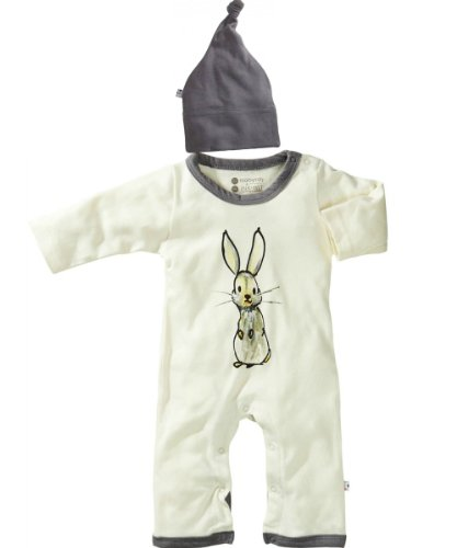 Babysoy-Organic One Piece Romper & Hat Baby Gift Set-Gray Bunny (3-6 Months, Bunny)