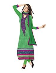 Green Faux Georgette Anarkali Suit