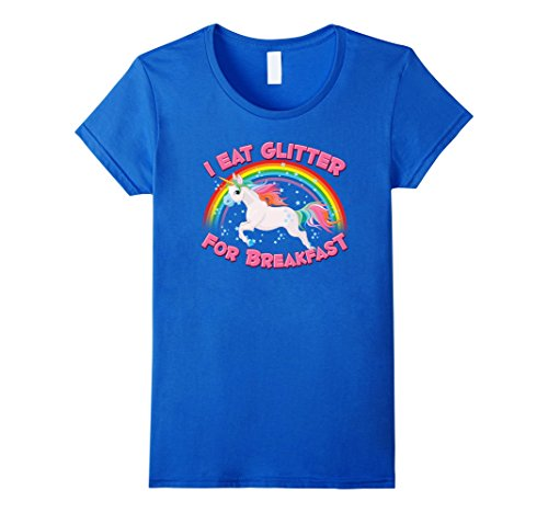 Women's Unicorn T-shirt, I Eat Glitter For Breakfast, By Zany Brainy Large Royal Blue