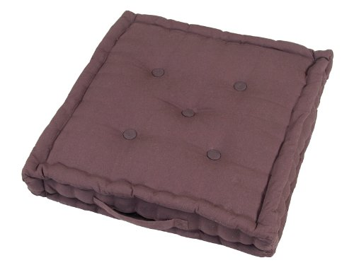 Homescapes - Plain Chocolate - 100% Cotton - Floor Cushion - Dark Bark Choco - 40 x 40 x 10 cm Square - Indoor - Garden - Dining Chair Booster - Seat Pad Cushion