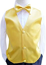 Classykidzshop Solid Vest and Bow Ties - Yellow Size 8