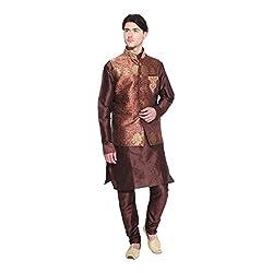 Favoroski Men Brown Banarasi Jacquard Waistcoats