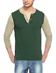 Hot Pepper Men's Cotton Henley Vneck Full Sleeve T-shirt - Bottle Green