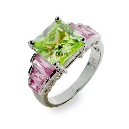 Peridot N' Pink Sterling Silver Ring Size 6 (Sizes 5 6 7 8 9 Available)