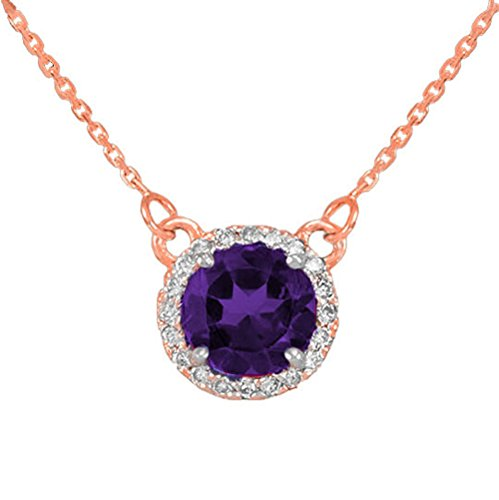 """14K Rose Gold Diamond-Accented Natural Amethyst Solitaire Necklace With 20"""" Chain"""