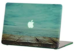 Macbook Pro Retina 15 inches Rubberized Hard Case for model A1398, GRAFICO Endless Sea Design with Green Bottom Case, Come with Keyboard Cover