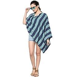 Pluchi Fashion Knitted Cotton Poncho Sarah-Queens Blue / Summer Blue