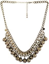 The Purple Present Black And Silver Zine, Alloy And Rhinestone Necklace For Women (N163)