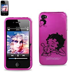 Protector Cover IPHONE 4S Snap On Hard Case Pink Betty Boop with Puppy Design 2DPC-IPHONE4S-B439