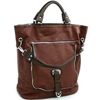 Dasein Decorative Zipper & Buckle Front Tote Bag Brown Red/ Dark Brown Faux Leather