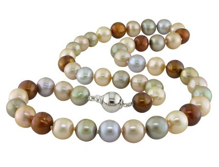 Freshwater Multi-colored Pearl Strand Necklace with Silver Ball Clasp (9-10mm)