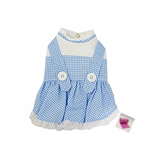 [Dorothy (Wizard of Oz) Blue Gingham Dog Dress Costume with Bags - Dog Size (M - Chest 16-18.5