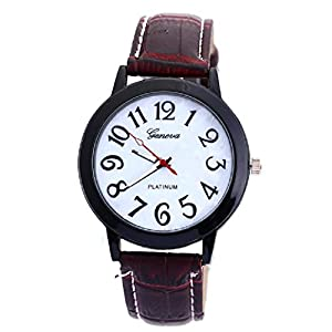 Neutral Digital Dial Leather Band Quartz Analog Wrist Watch Watches New
