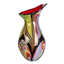 Luxury Lane Hand Blown Abstract Teardrop Art Glass Vase with Angled Lip 13.5\
