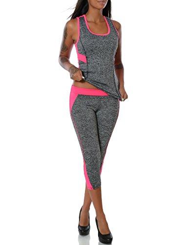 damen yoga sport set fitness tank top capri hose t shirt weitere farben no 14056 farbe pink. Black Bedroom Furniture Sets. Home Design Ideas