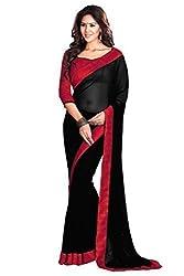 Black Colour Georgette Lace Border Saree By RadadiyaTRD