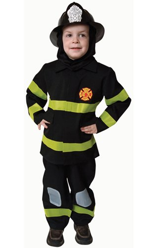 Boys Deluxe Black Fire Fighter Halloween Costume