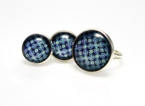 2 pieces Jewelry Set - Raspberry with Big Ring [Jewelry]