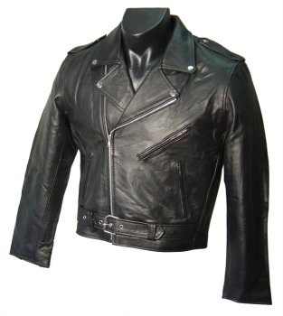 Black Leather Men's Biker Jacket - X-Large