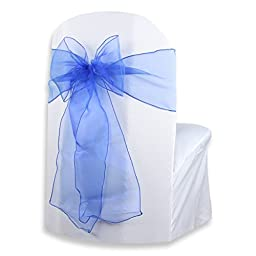 Sparkles Make It Special 10-pcs 108 x 8 Inch Organza Chair Cover Bow Wedding Sashes Royal Blue