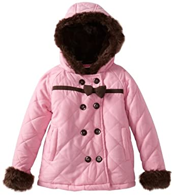 Young Hearts Little Girls'  1 Pieced Pocket Hood Jacket, Pink, 4