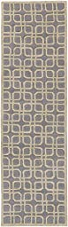 Blue Soft Wool Rug Contemporary Design 2-Foot 3-Inch x 10-Foot Hand-Made Geometric Carpet
