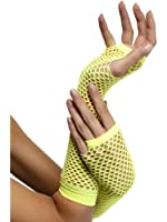 Long Fishnet Fingerless Gloves - Yellow