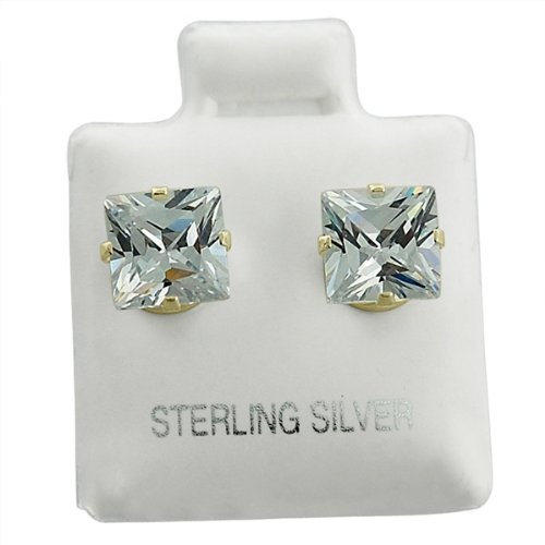 Sterling Silver Square Clear CZ Studs 4mm Earings