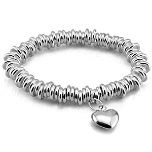 Platinum Plated 925 Sterling Silver Heart Pendant Round Cuff Bangle Bracelet B089