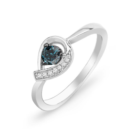 10KT White Gold Blue And White Round Diamond Promise Ring (1/6 cttw)