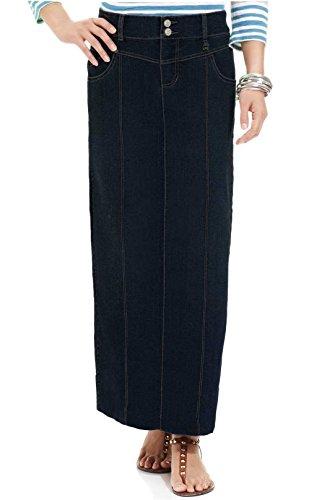 82f9202c440 Tabeez Women s Plus Size Long Denim Pencil Skirt with Front Paneling ...