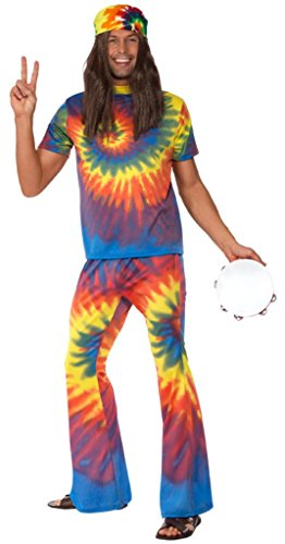 Smiffy'S Men'S 1960'S Tie Dye Top And Flared Trousers, Multi, Large