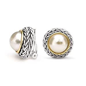 Bling Jewelry Two Tone Pearl Clip On Earrings Braided Bali Style