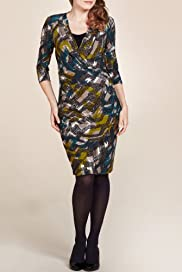 Per Una Crossover V-Neck Geometric Print Dress [T62-6389I-S]