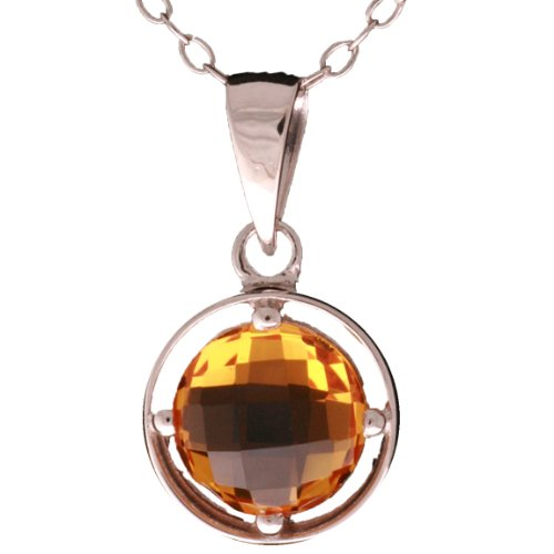 Dainty Sterling Silver Pendant with Swarovski Citrine Four Prong Setting Pendant!