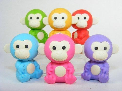 Iwako Little Monkey Erasers 6 Colors 6 Monkeys, New 2011, #38218