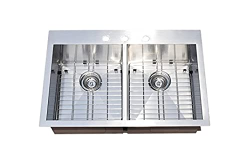 "Starstar 33"" Double Bowl Top-mount Stainless Steel Kitchen Sink with Grids and Strainers"