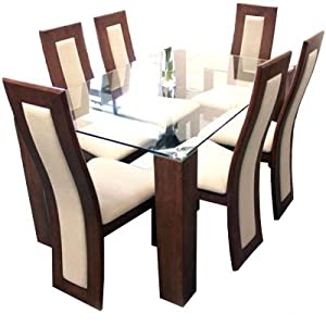 Julian Bowen Mistral Walnut Glass Dining Set Table 6