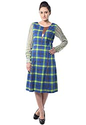 iamme Leather Accent, Princess Dress in Blue & Green Checks With Lace Sleeves