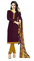 Khoobee Presents Lakda Jacquard Dress Material(Wine,Yellow)