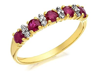 F.Hinds Womens Jewellery Jewelry Genuine 9ct Gold Ruby And Diamond Half Eternity Ring