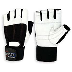 LEATHER WEIGHT LIFTING GLOVES WRIST SUPPORT (S/M, WHITE)