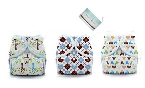 3 Duo Wrap Snaps Diaper Covers Hoot, Blackbird, Scottish Storm -Size 2 (18-40 Lbs)