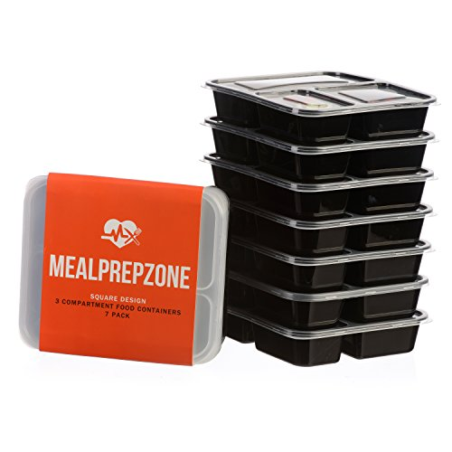 Meal Prep Zone 3 Compartment Food Storage Containers with Lids for Portion Control, Microwave, Dishwasher Safe, Bento Lunch Box, Square Style, Set of 7 (Portion Control Sauce compare prices)