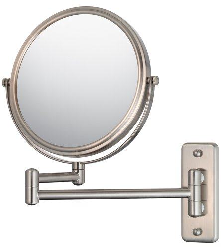 Mirror Image 21175 Double Arm Wall Mirror, 7.75-Inch Diameter, 1X And 5X Magnification, Brushed Nickel