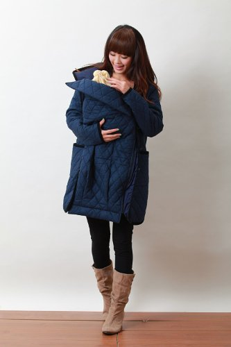 Quilt Mother Coat with baby pouch SJ 2033 (UK 12-14, navy blue)