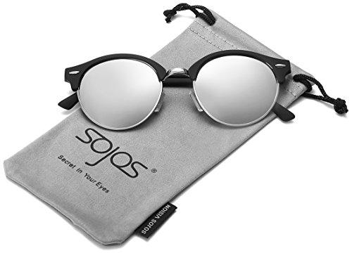 SojoS -  Occhiali da sole  - Uomo C5 Black Frame/Silver Lens