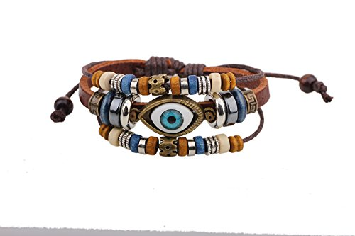 Real Spark Vintage Style Evil Eye Metal Loop Wood Beaded Adjustable Length Wrap Bracelet