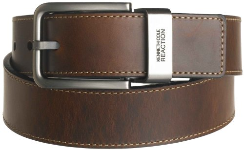 "Kenneth Cole REACTION Men's Brown Out 1-1/2"" Leather Reversible Belt, Brown/Black, 34"